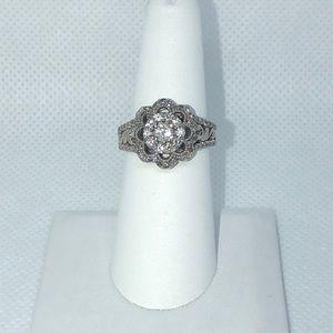 14k white gold diamond flower ring size 7
